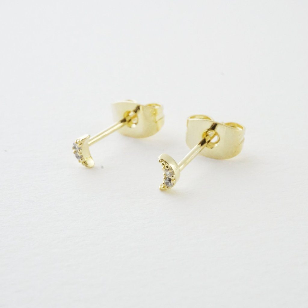 Mini Moon Crystal Stud Earrings Earrings HONEYCAT Jewelry Gold