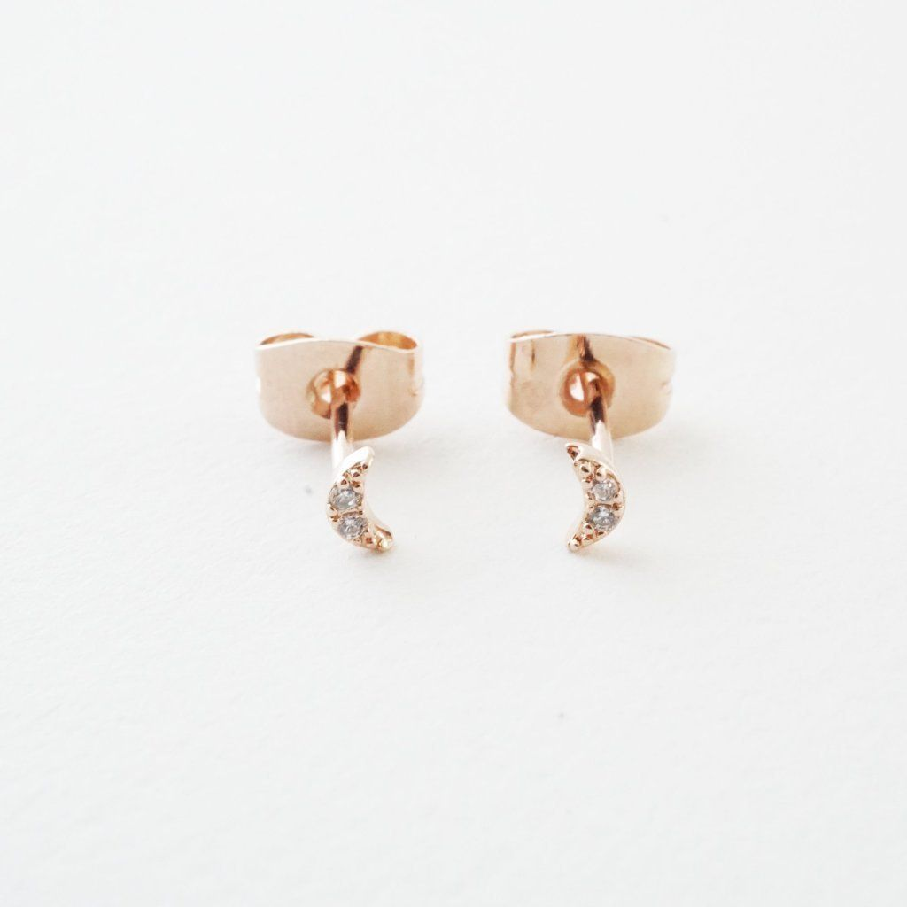 Mini Moon Crystal Stud Earrings Earrings HONEYCAT Jewelry Rose Gold