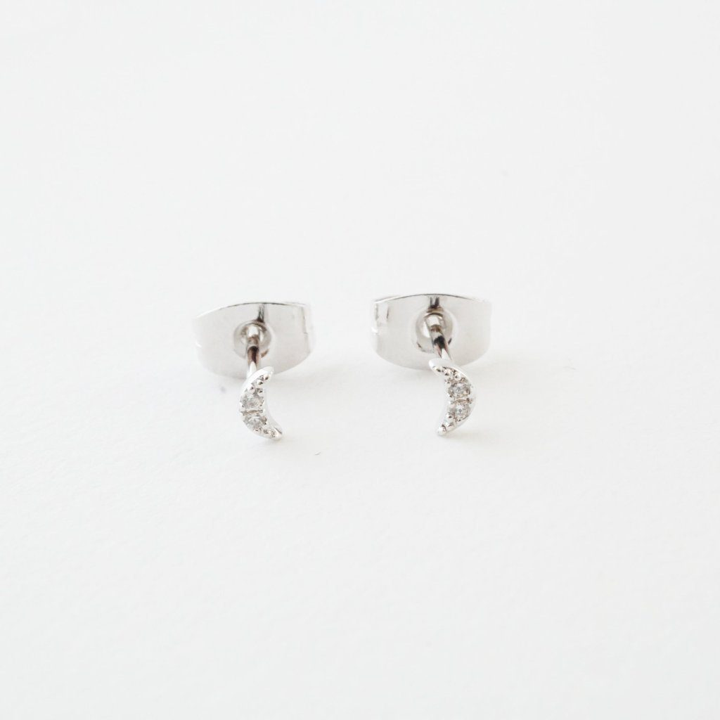 Mini Moon Crystal Stud Earrings Earrings HONEYCAT Jewelry Silver