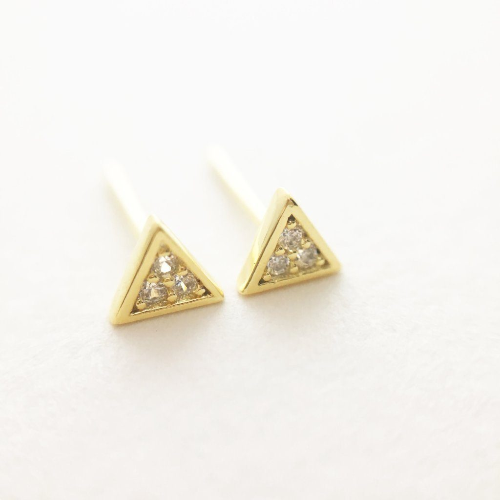 Mini Crystal Triangle Stud Earrings Earrings HONEYCAT Jewelry Gold