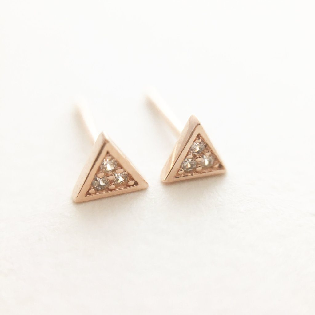 Mini Crystal Triangle Stud Earrings Earrings HONEYCAT Jewelry Rose Gold