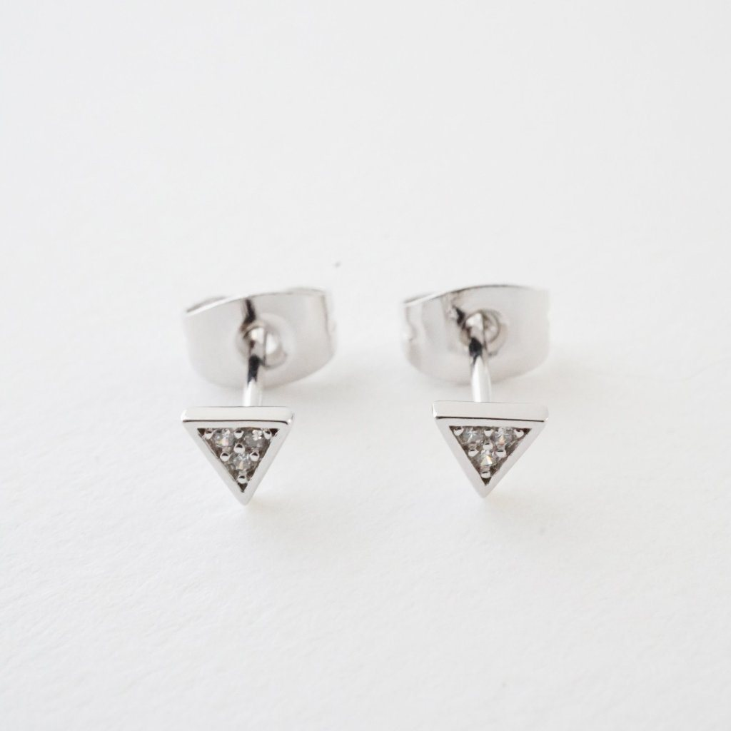 Mini Crystal Triangle Stud Earrings Earrings HONEYCAT Jewelry