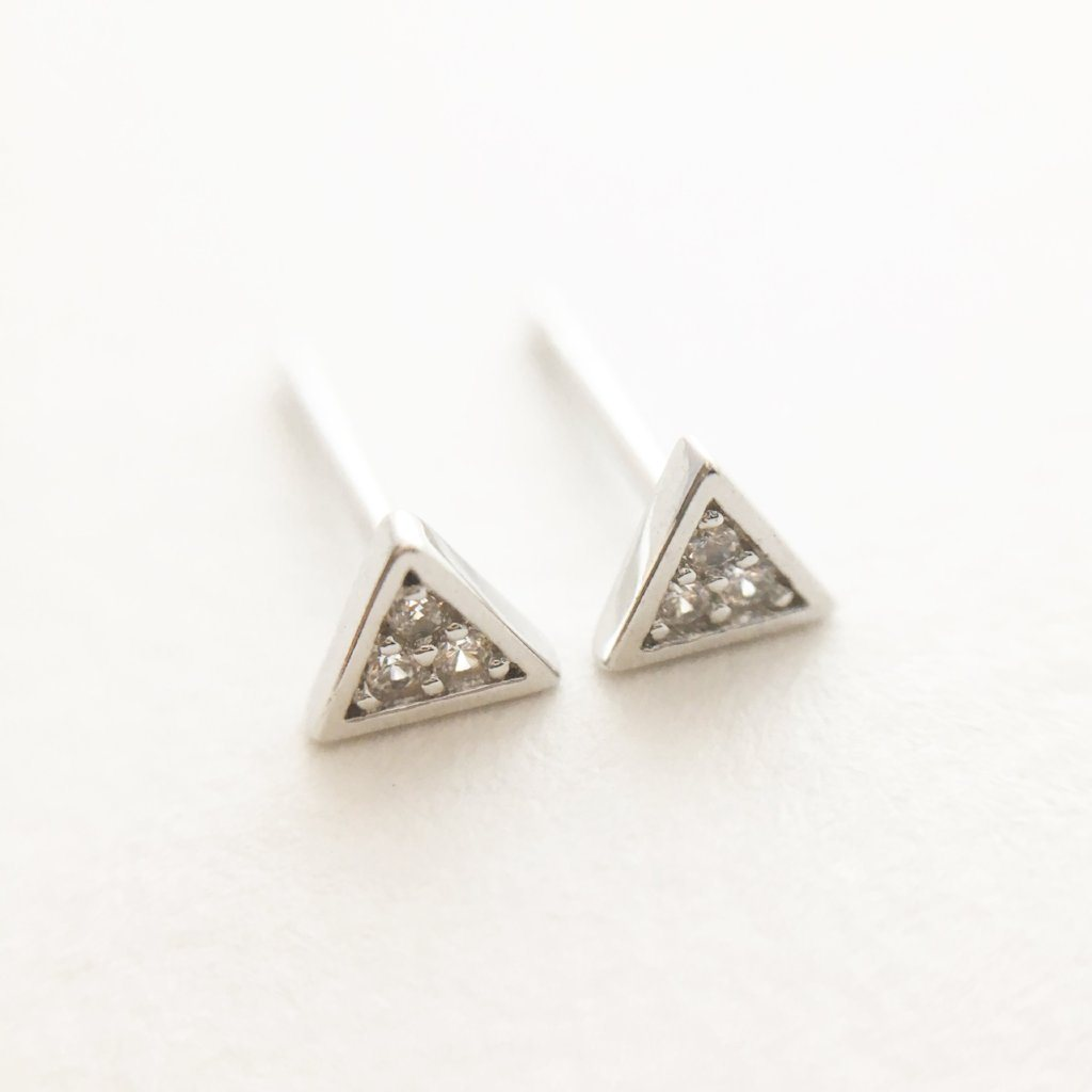 Mini Crystal Triangle Stud Earrings Earrings HONEYCAT Jewelry Silver