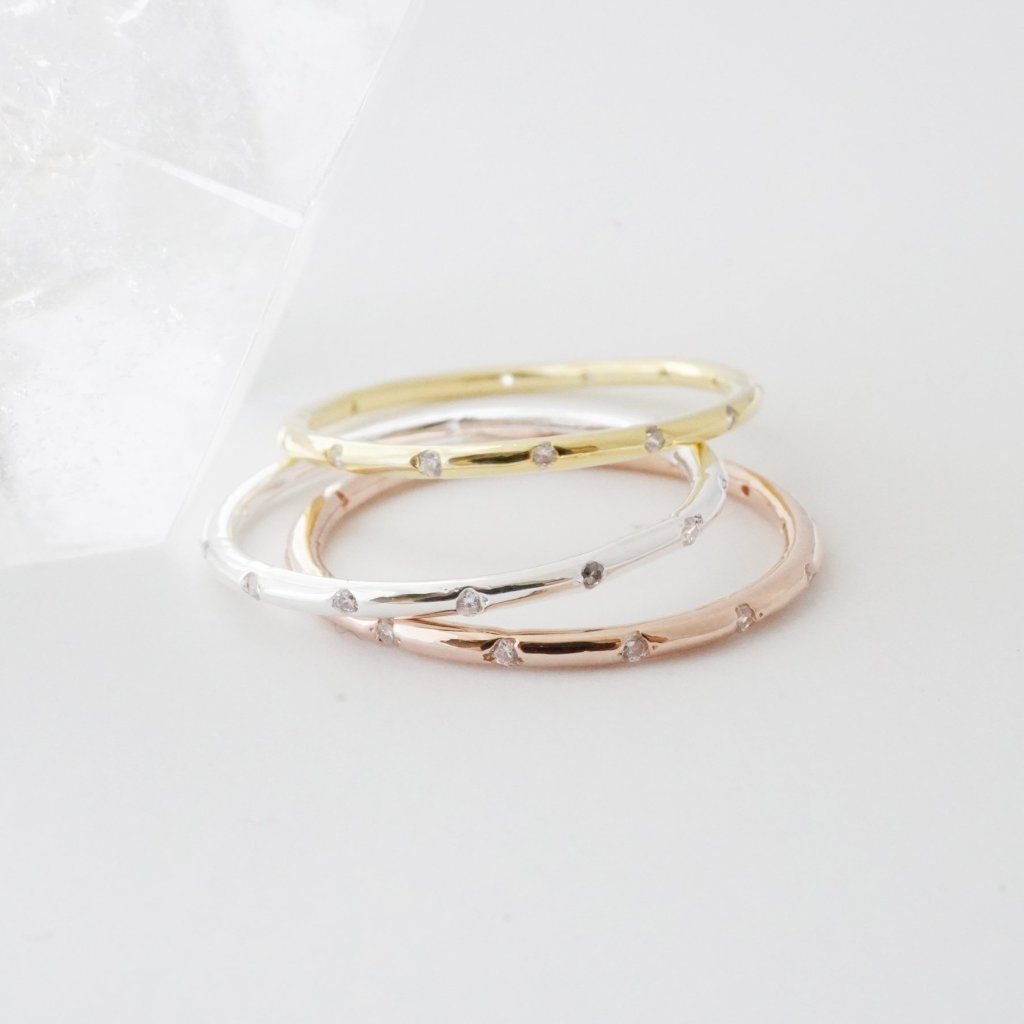 Dotted Crystal Band Rings HONEYCAT Jewelry