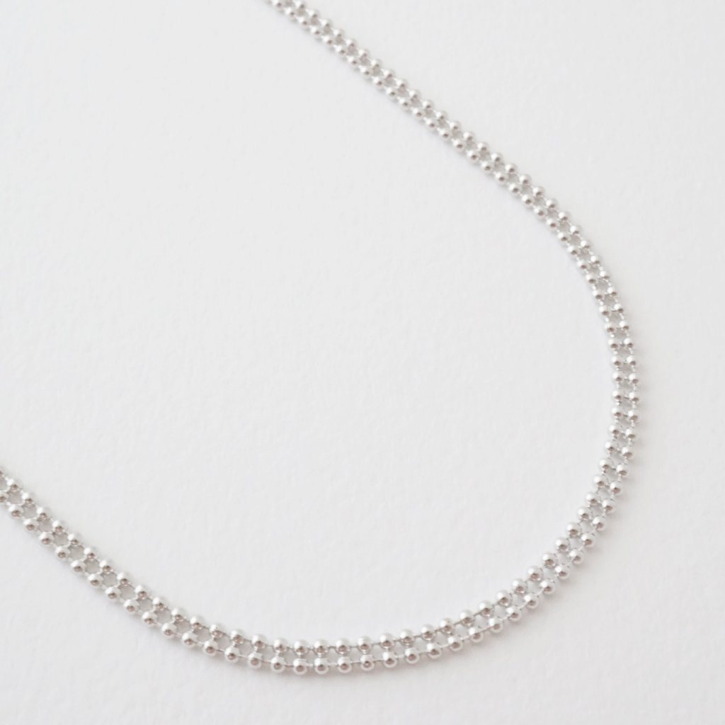 Double Ball Chain Choker-Necklace Necklaces HONEYCAT Jewelry Silver