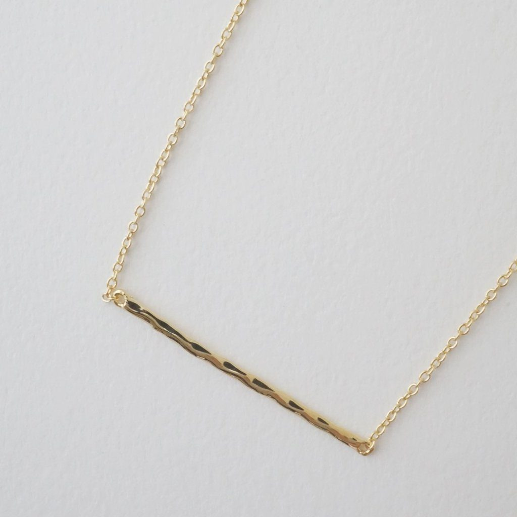 Hammered Classic Bar Necklace Necklaces HONEYCAT Jewelry Gold