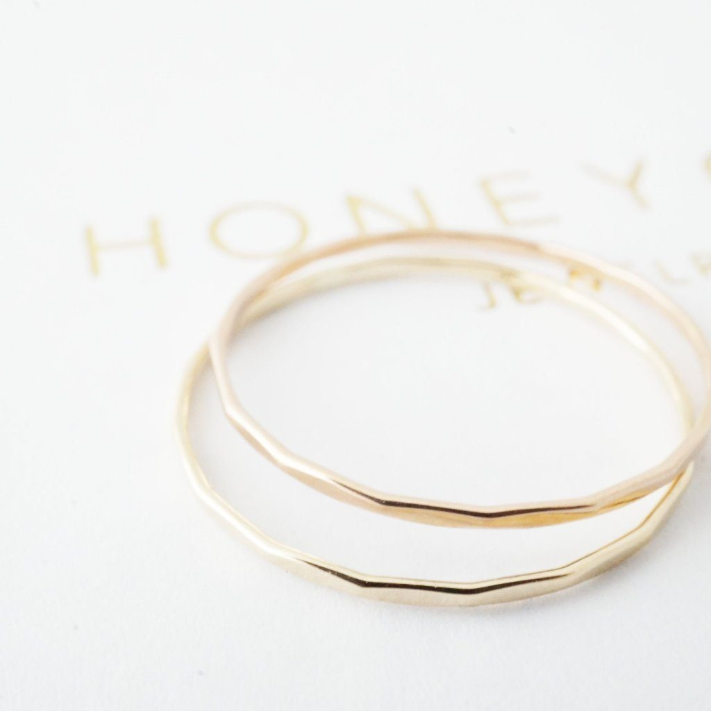 Hammered Skinny Stacking Ring, 14k Gold