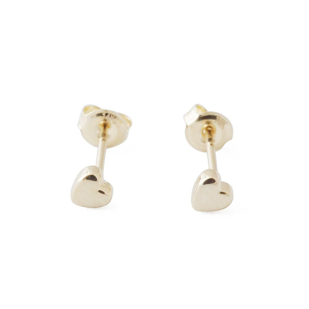 Mini Heart Studs, 14k Gold Earrings HONEYCAT Jewelry Gold