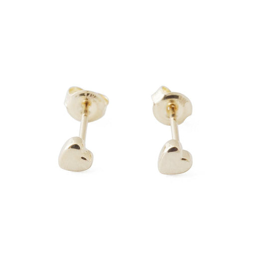 Mini Heart Studs, 14k Gold