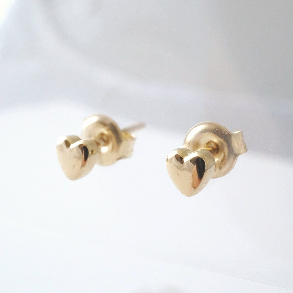 Mini Heart Studs, 14k Gold Earrings HONEYCAT Jewelry