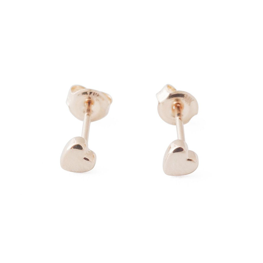 Mini Heart Studs, 14k Gold Earrings HONEYCAT Jewelry Rose Gold