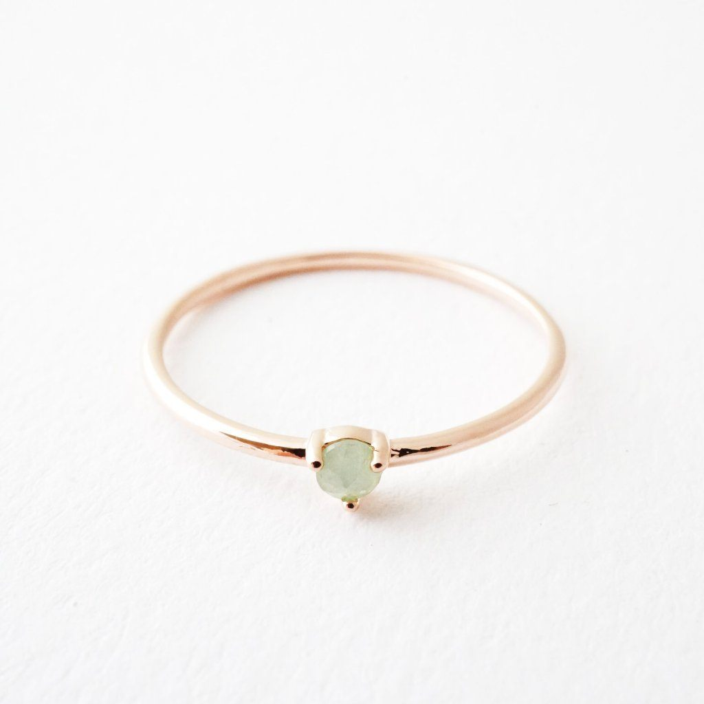 Jade Point Solitaire Ring
