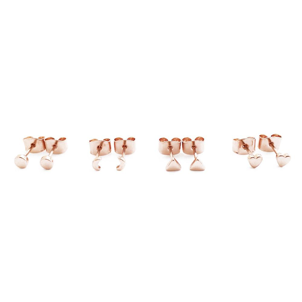 Mini Stud Earrings Quartet Earrings HONEYCAT Jewelry Rose Gold