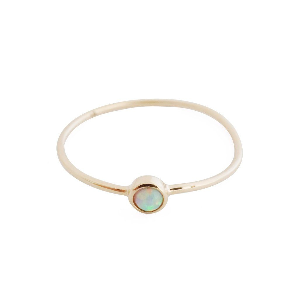 Opal Solitaire Ring, 14k Gold Rings HONEYCAT Jewelry Gold 5