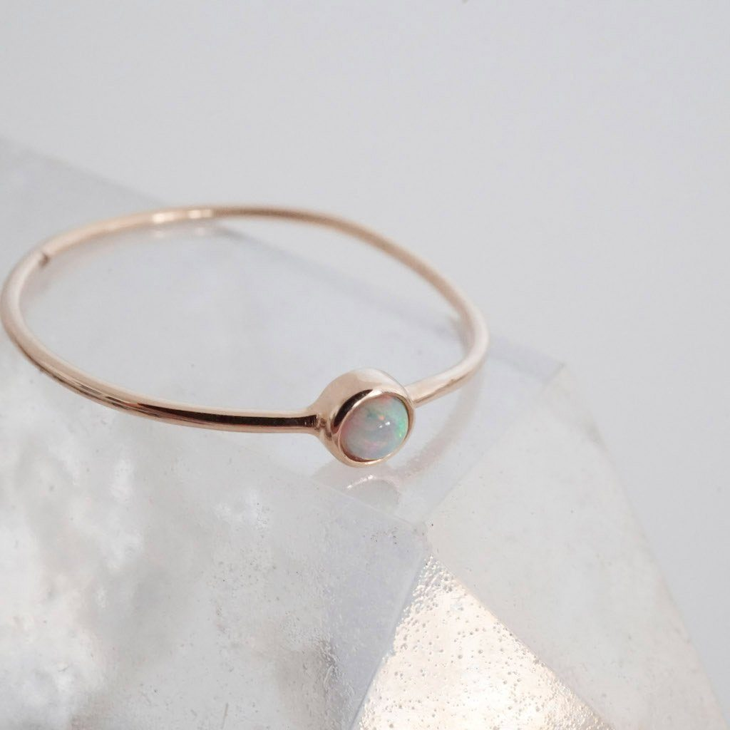 Opal Solitaire Ring, 14k Gold Rings HONEYCAT Jewelry Rose Gold 5