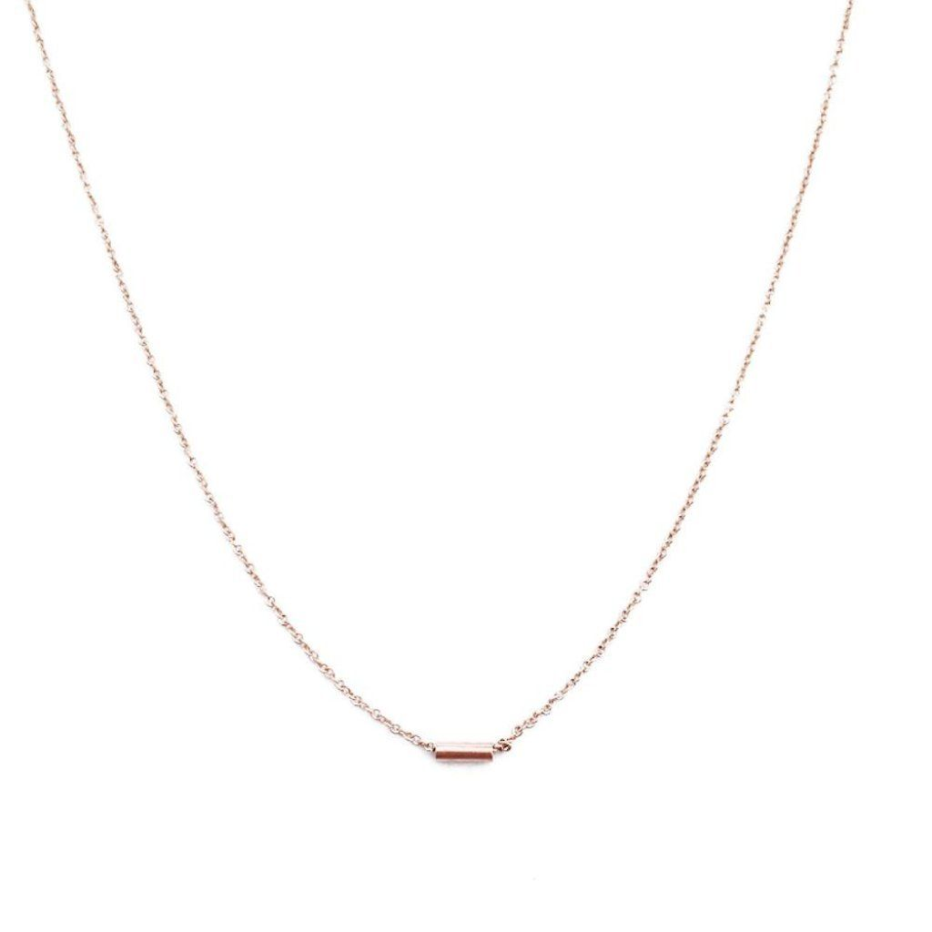 Tiny Dash Pipe Bar Necklace Necklaces HONEYCAT Jewelry Rose Gold