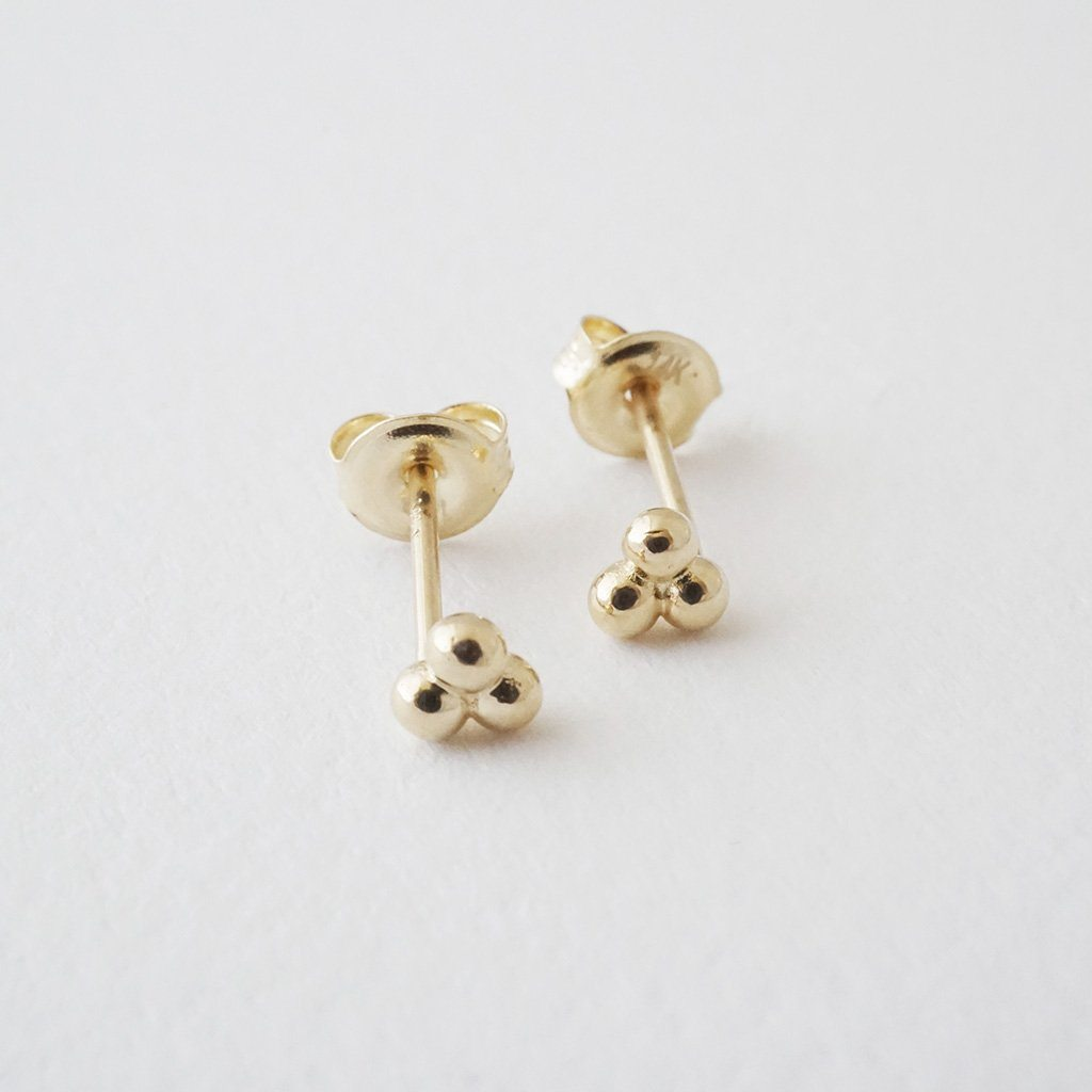Trinity Ball Studs, 14k Gold Earrings HONEYCAT Jewelry Gold