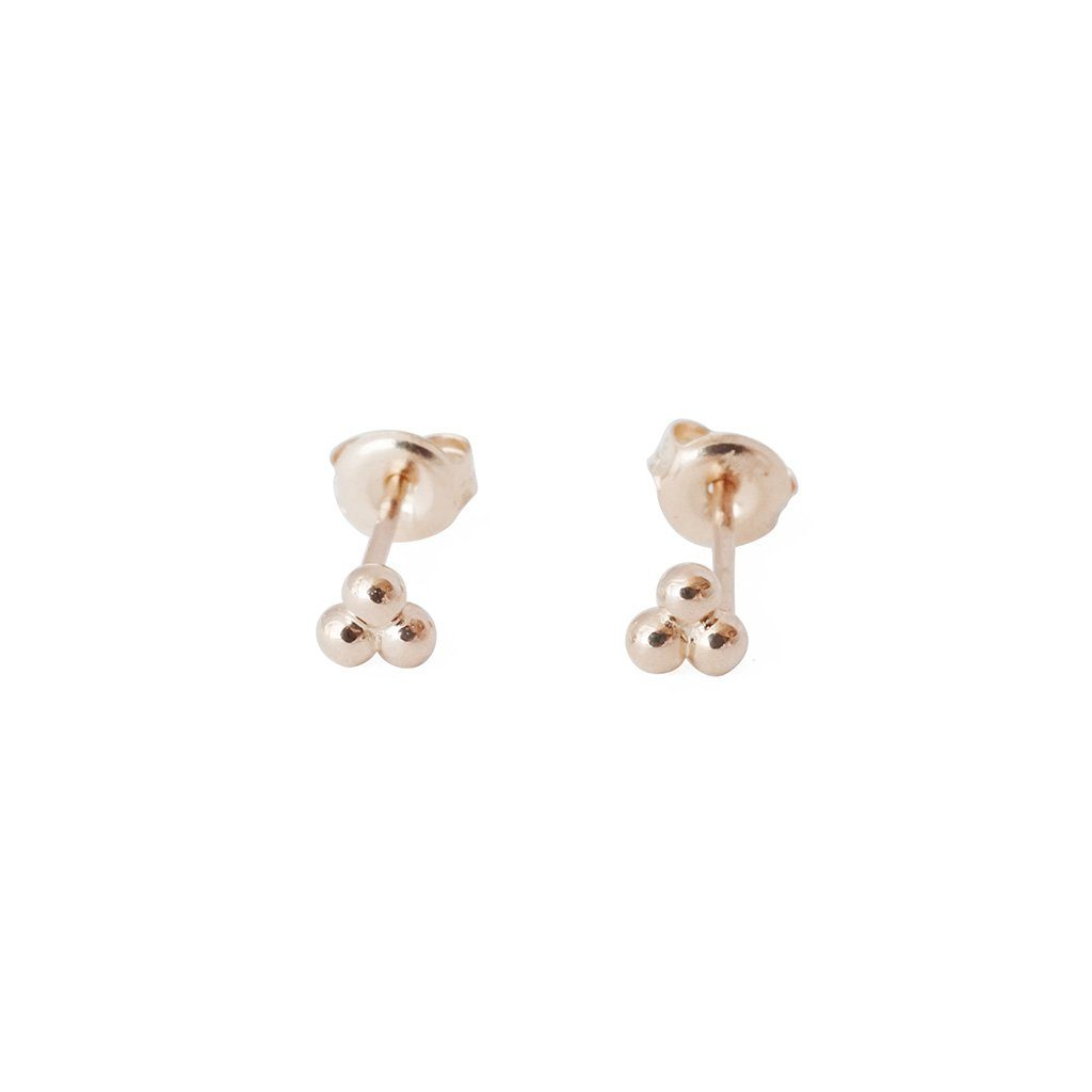 Trinity Ball Studs, 14k Gold Earrings HONEYCAT Jewelry