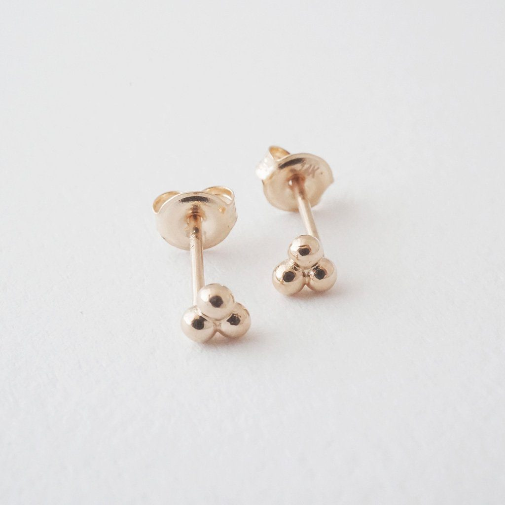 Trinity Ball Studs, 14k Gold Earrings HONEYCAT Jewelry Rose Gold