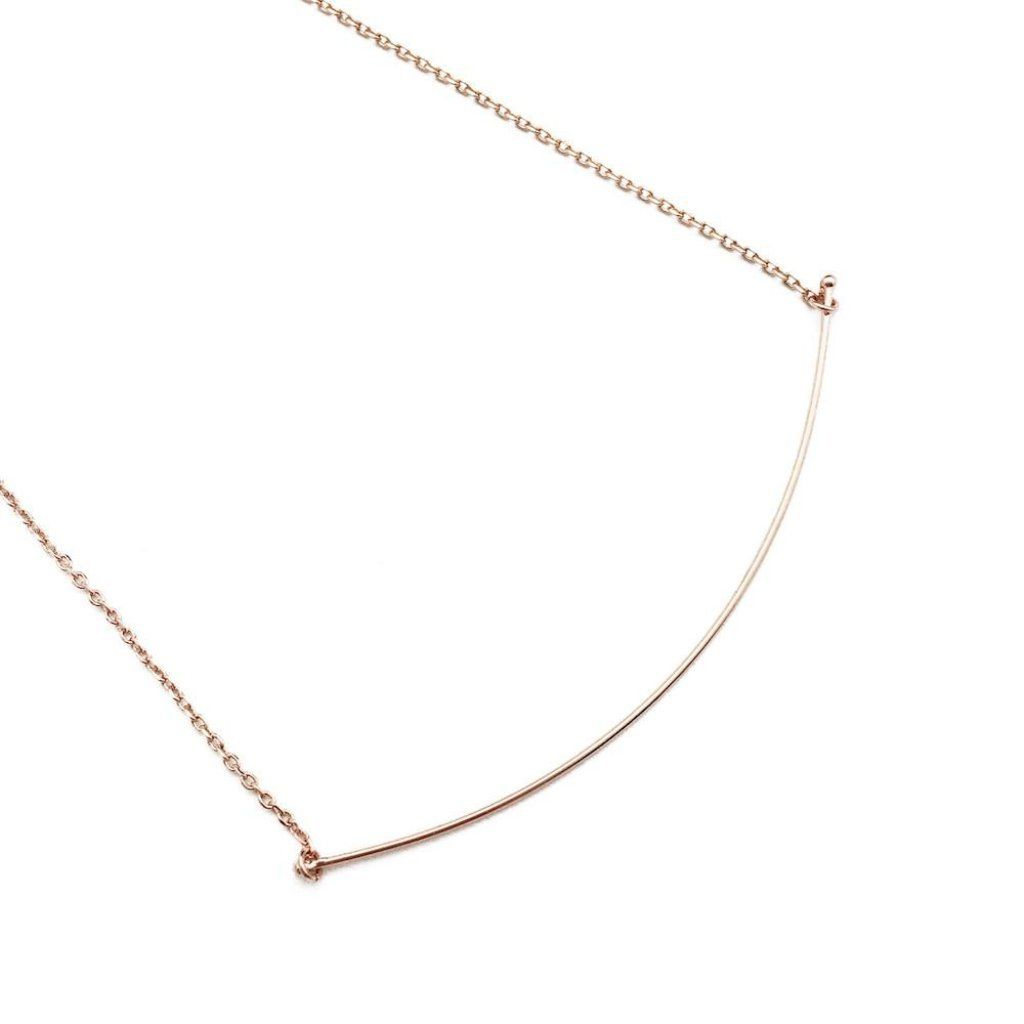 Willow Curve Bar Necklace - Final Sale Necklaces HONEYCAT Jewelry Rose Gold