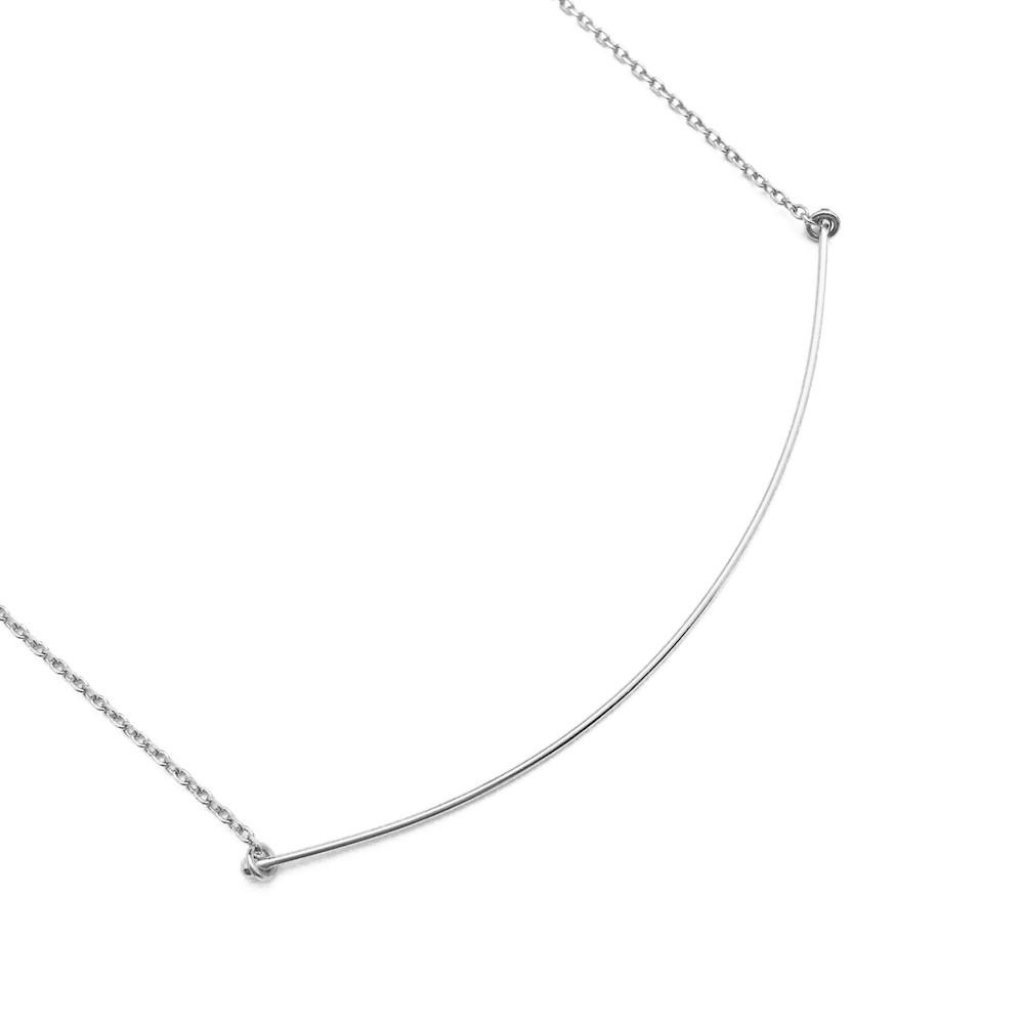 Willow Curve Bar Necklace - Final Sale Necklaces HONEYCAT Jewelry Silver