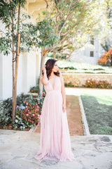 Kateryna Pleated Mesh Maxi Gown - Blush Elegance