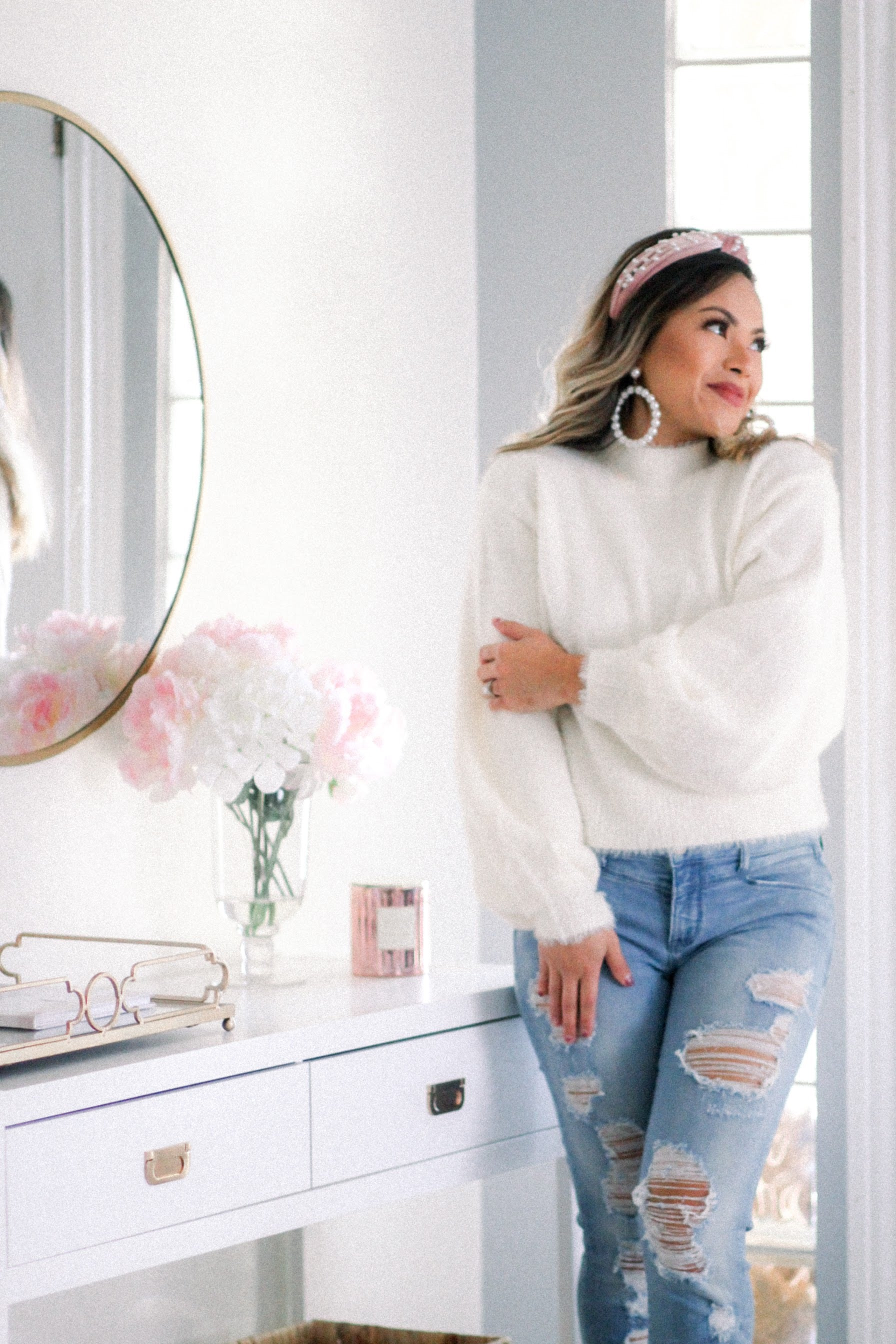 Shaylene Ivory Mock Neck Sweater