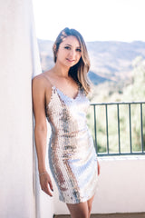 Bellanina Sequin Slip Dress - Blush Elegance