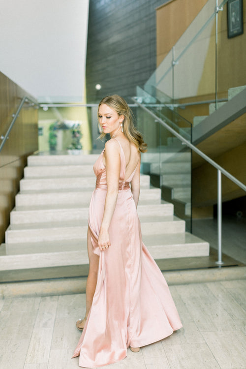 Amielle Blush Maxi Dress - Blush Elegance