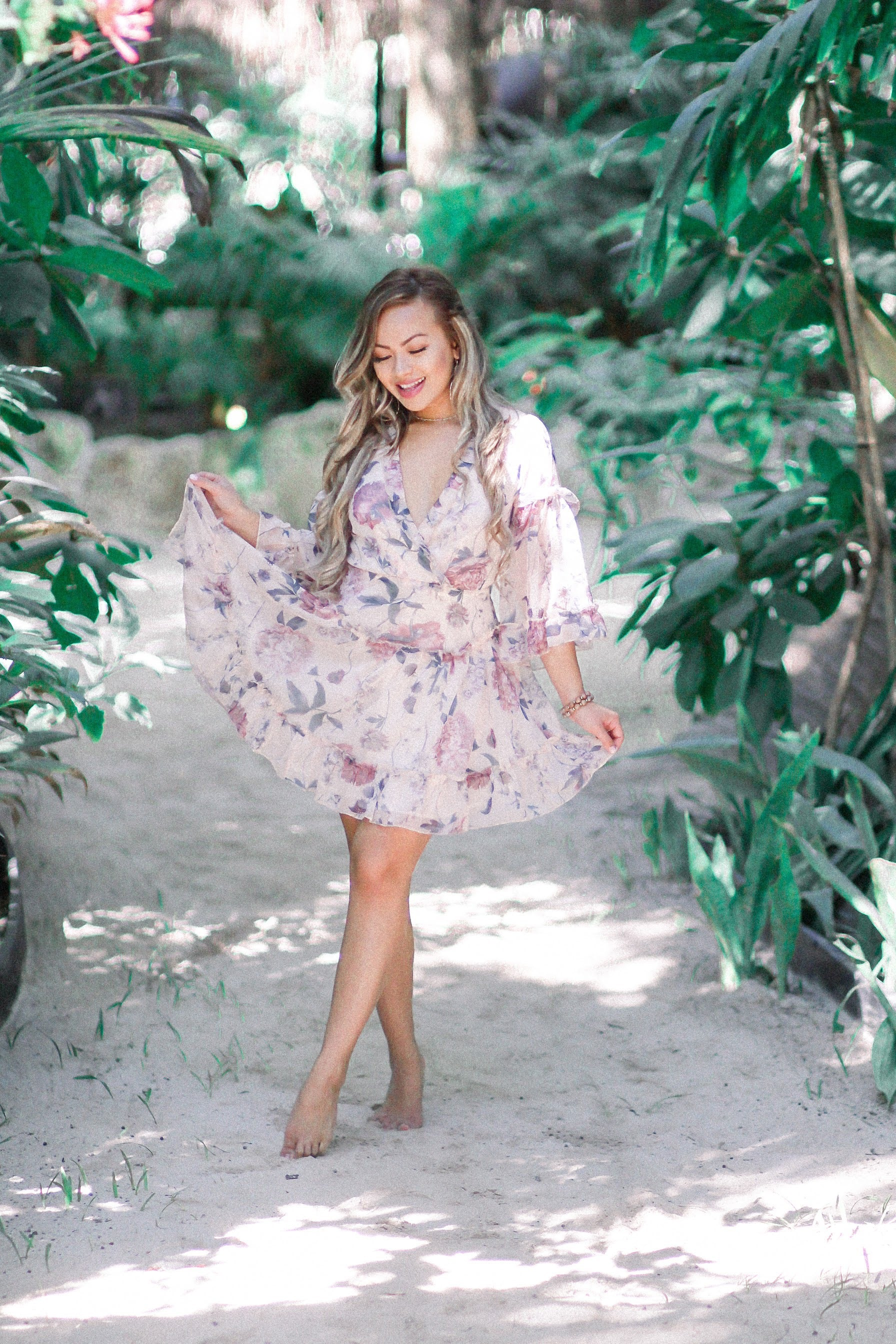 Alisa Floral Dress - Blush Elegance