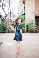 Alexia Navy Lace Dress - Blush Elegance