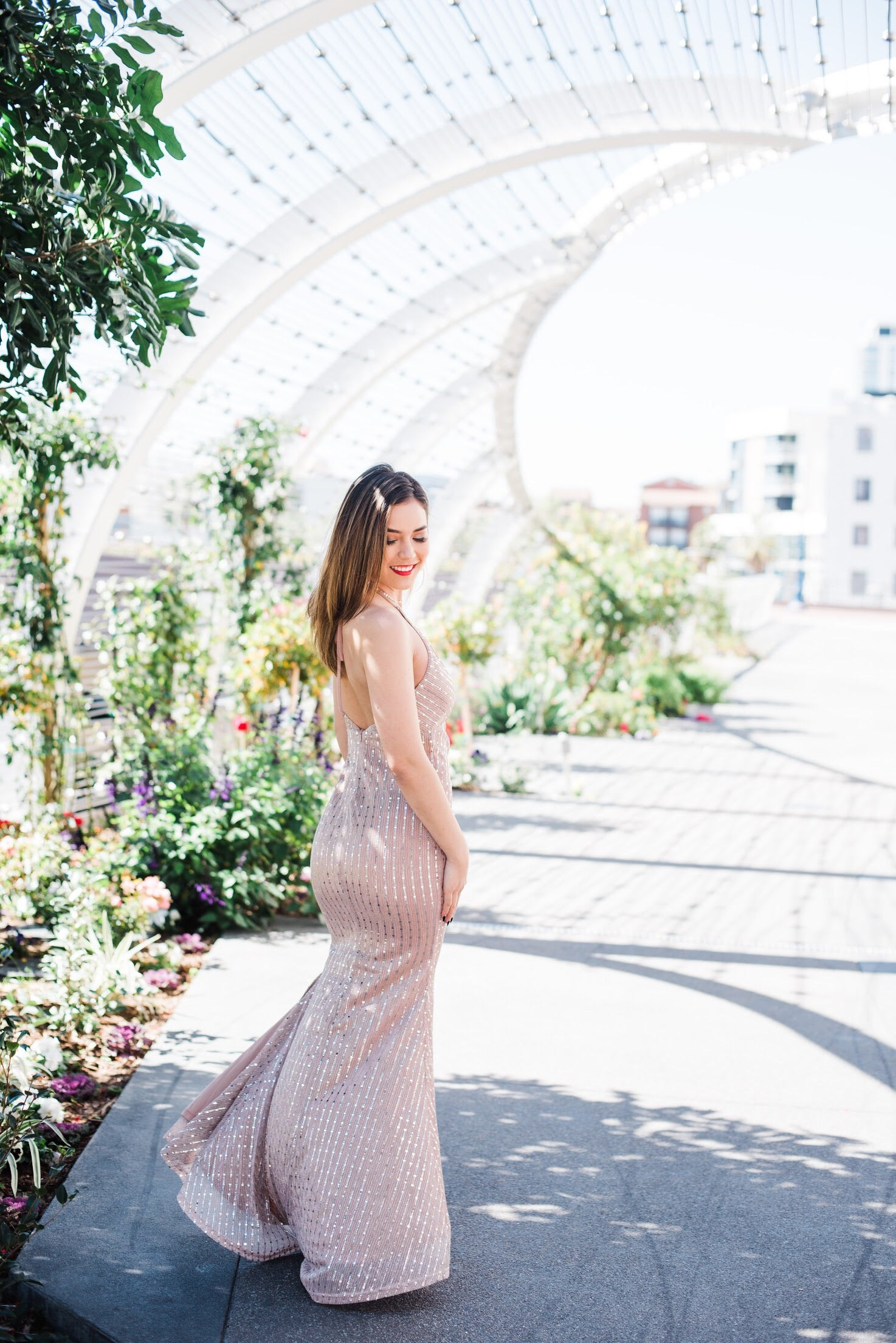 Haven Mauve Sequin Shirred Maxi Gown - Blush Elegance