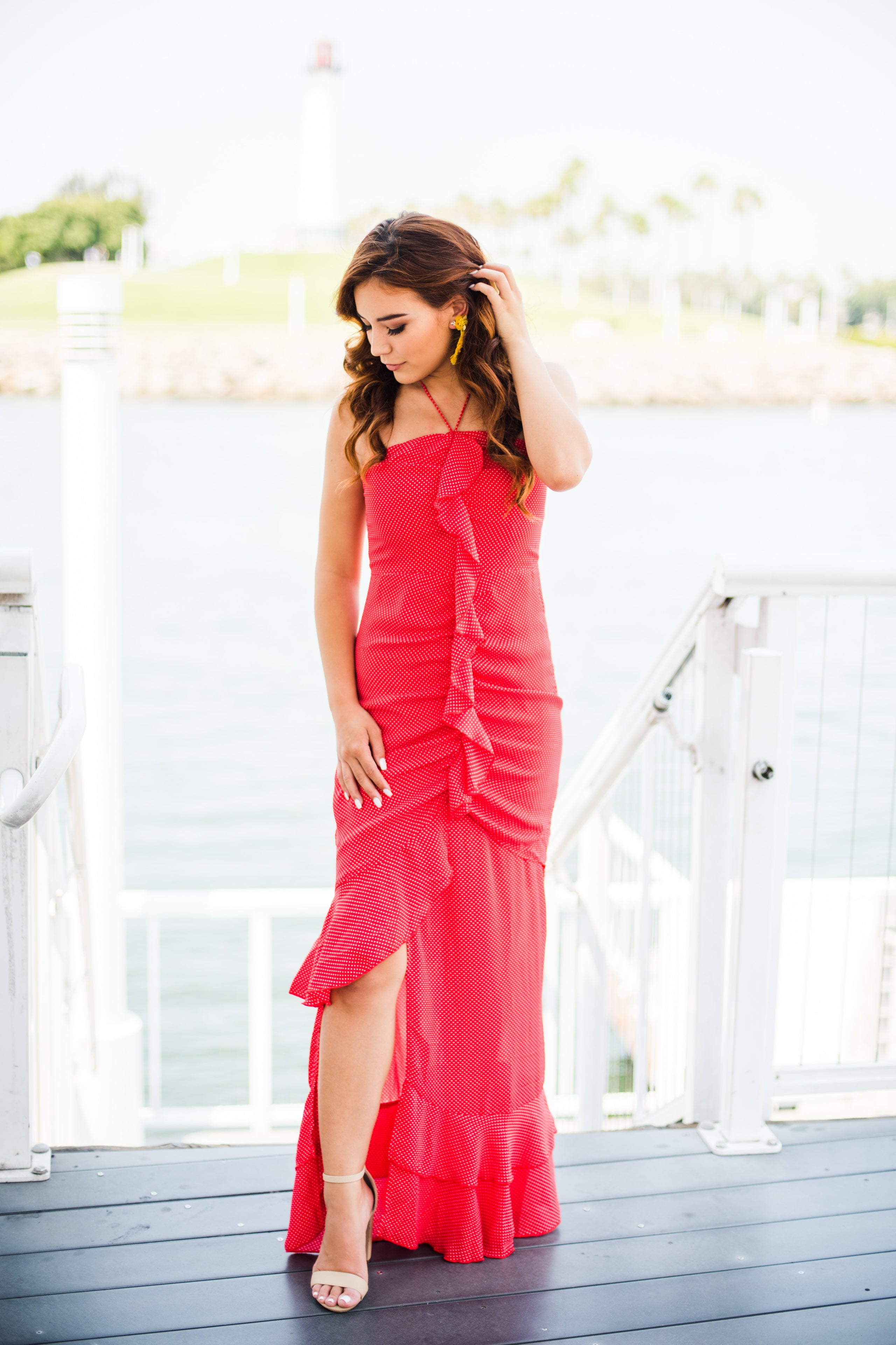 Havanna Red Polka Dot Maxi - Blush Elegance