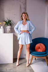 Caroline Linen Blazer and Shorts Set - Blush Elegance