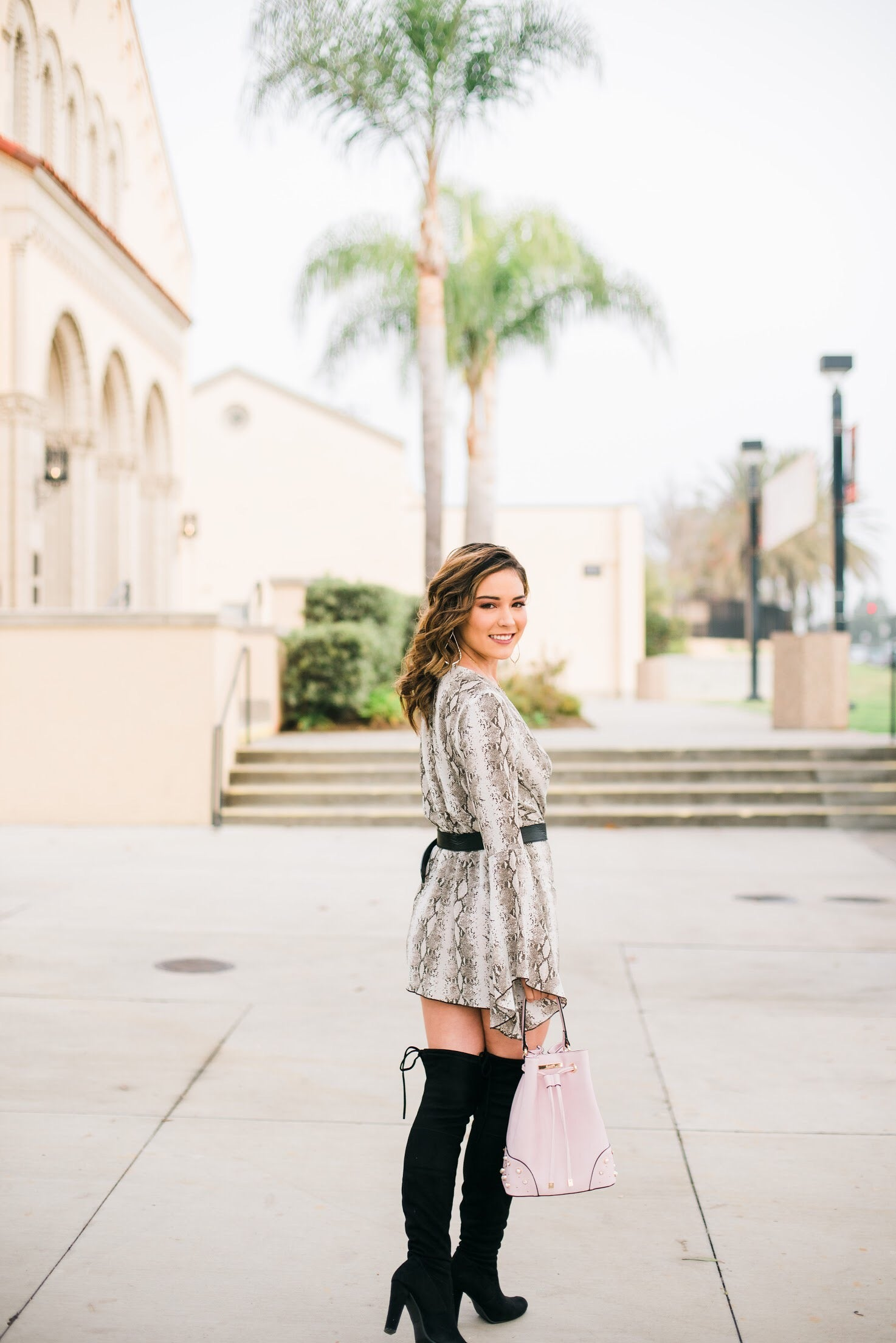 Alana Snakeskin Bell Sleeve Dress - Blush Elegance