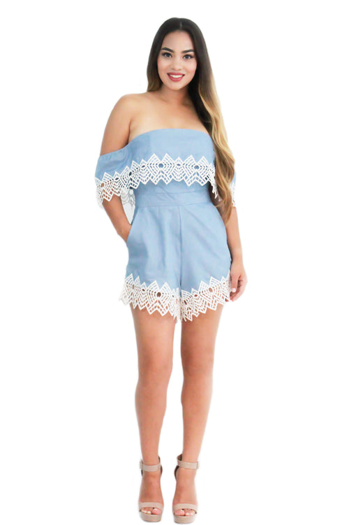 Sabrina Chambray Off the Shoulder Romper