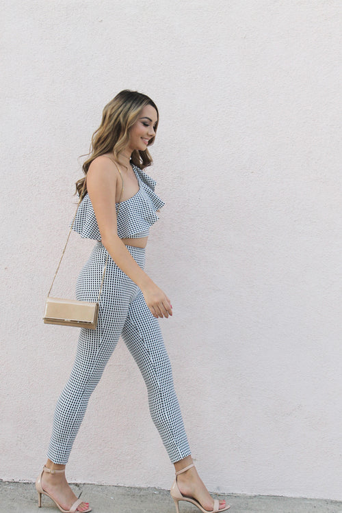 Plaid One Shoulder Crop and Pant Set