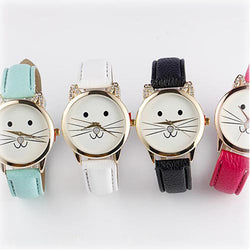Cats Face Leather Watch