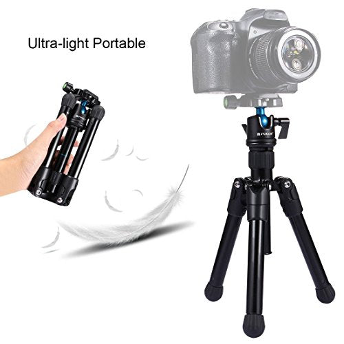 Portable Camera Tripod Reverse Fold Professional Travel Tripod with Ball Head for DSLR Cameras