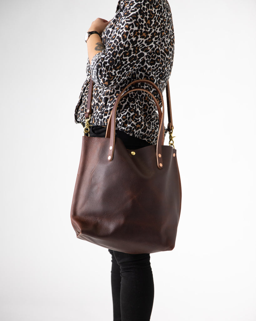 Brown Kodiak tote bag with crossbody strap