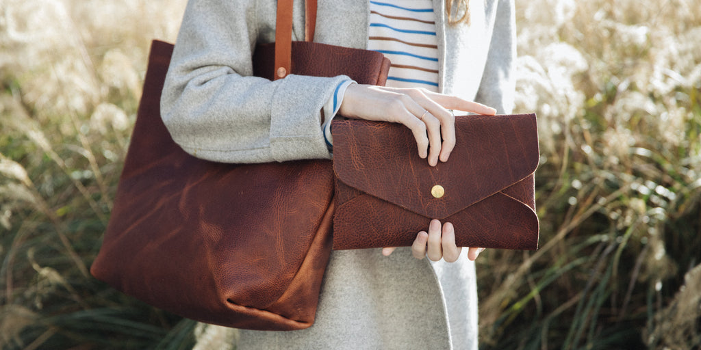 Tan Kodiak handmade leather tote bag at KMM & Co.