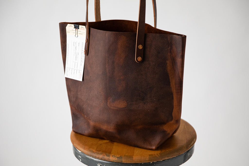 Mottled leather tote bag at KMM & Co.
