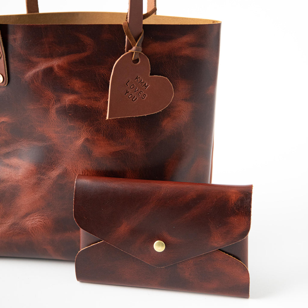 Cinnamon leather tote bag bundle at KMM & Co.