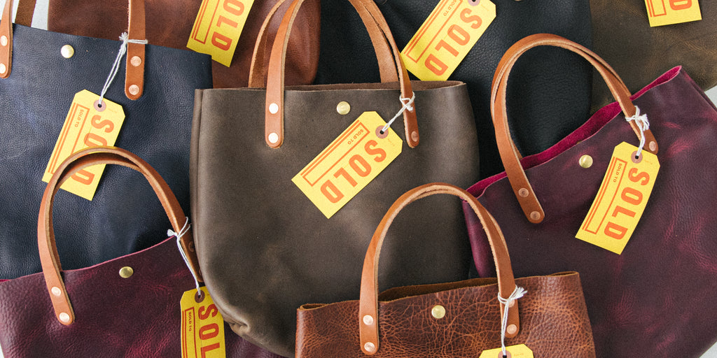 Leather mini totes made in America at KMM & Co.