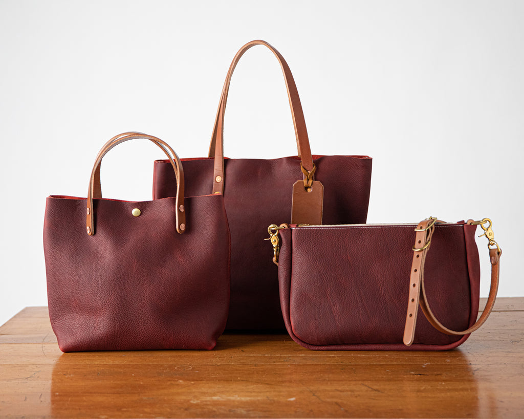 Leather tote bag, mini tote, and crossbody bag