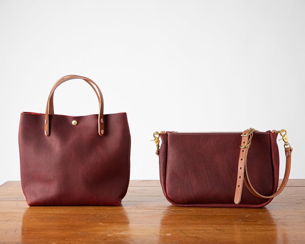 Leather mini tote and crossbody bag