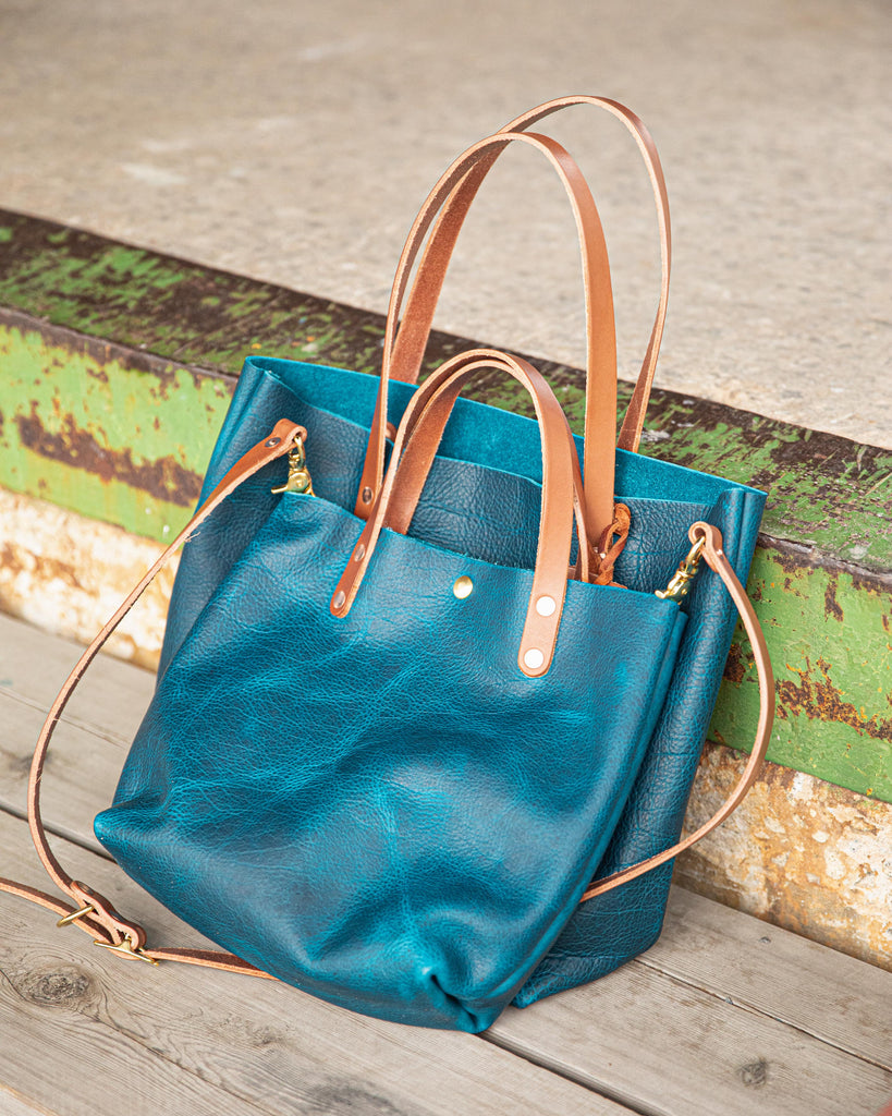 Petrol Blue Bison leather tote and mini tote