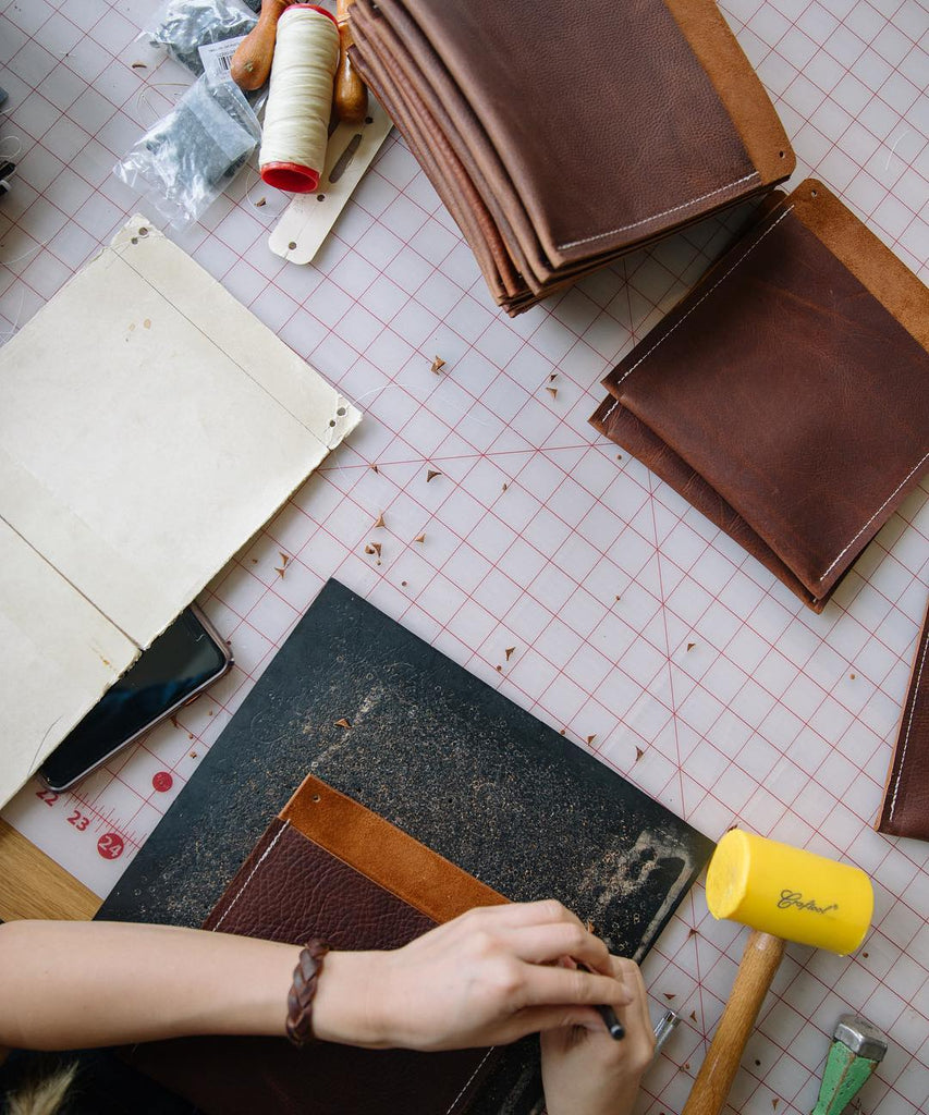 Pockets for leather tote bags on a cutting table
