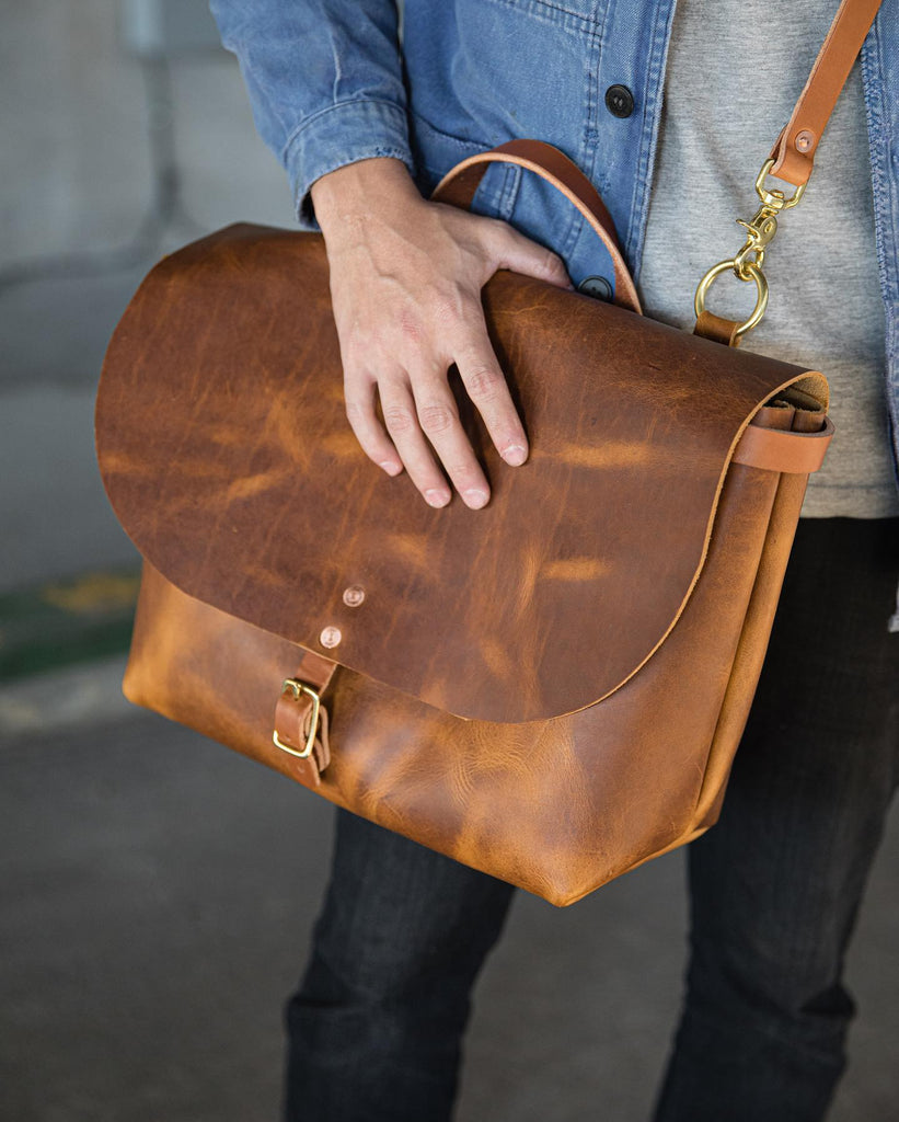 Honey leather messenger bag at KMM & Co.
