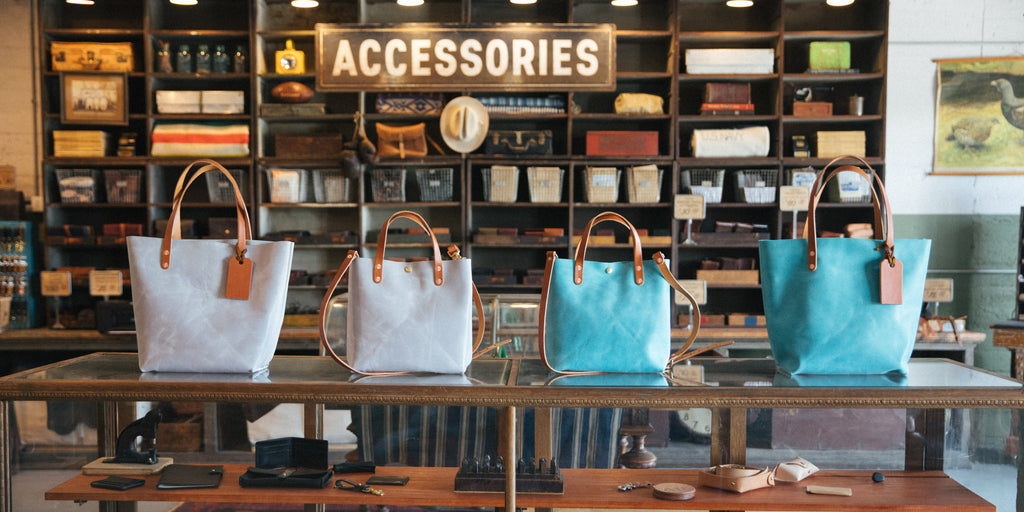 Pearl and Aegean Blue leather totes and mini tote bags